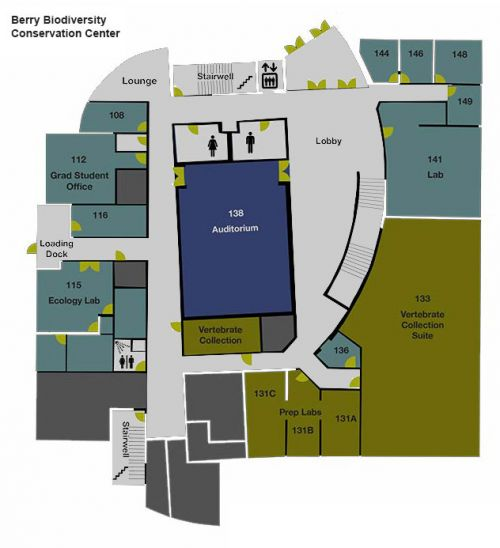 Map of first floor of the Berry Center.